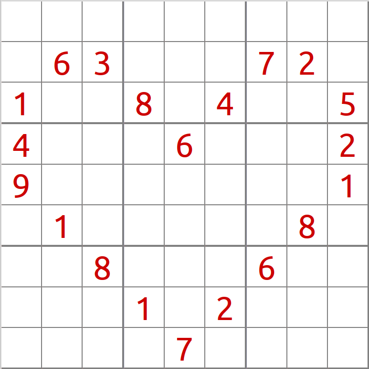 Sudoku in the form of a heart with red numbers